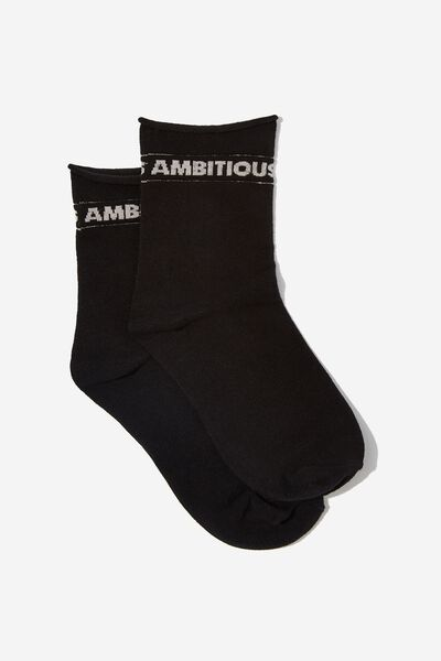 Riley Roll Top Sock, BLACK/AMBITIOUS