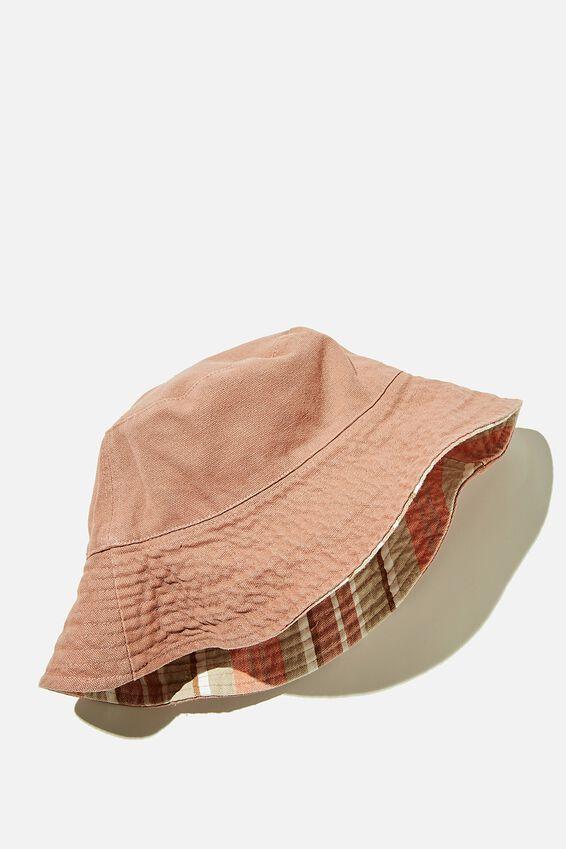 Elly Reversible Wide Brim Bucket Hat, PEACH PALM FRANKIE STRIPE