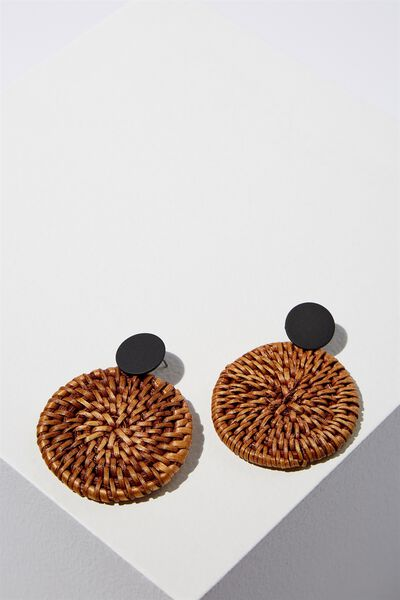 Mandalay Beach Earring, DARK RATTAN/BLACK