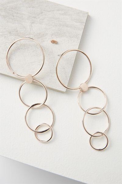 Decending Hoops Earring, ROSE GOLD