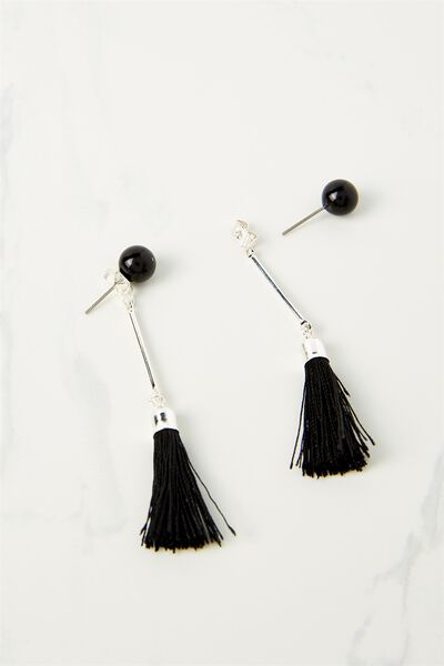 Pearl Single Tassel Earring, BLACK