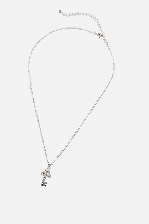 Keepsake Pendant Necklace, ANTIQUE KEY SILVER DIAMANTE
