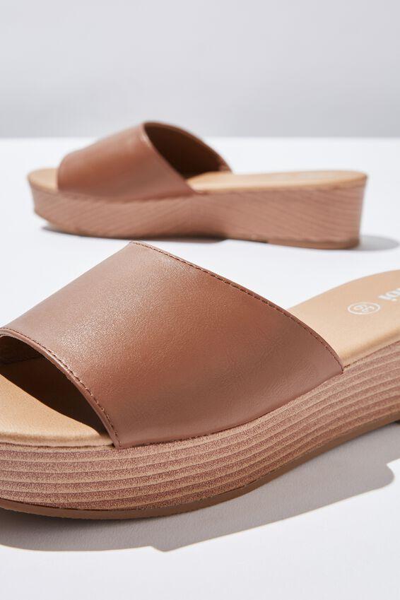 Phoebe Flatform Sandal, TAN PU