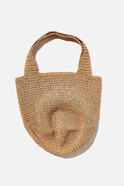 Pia Woven Slouch Tote, NATURAL