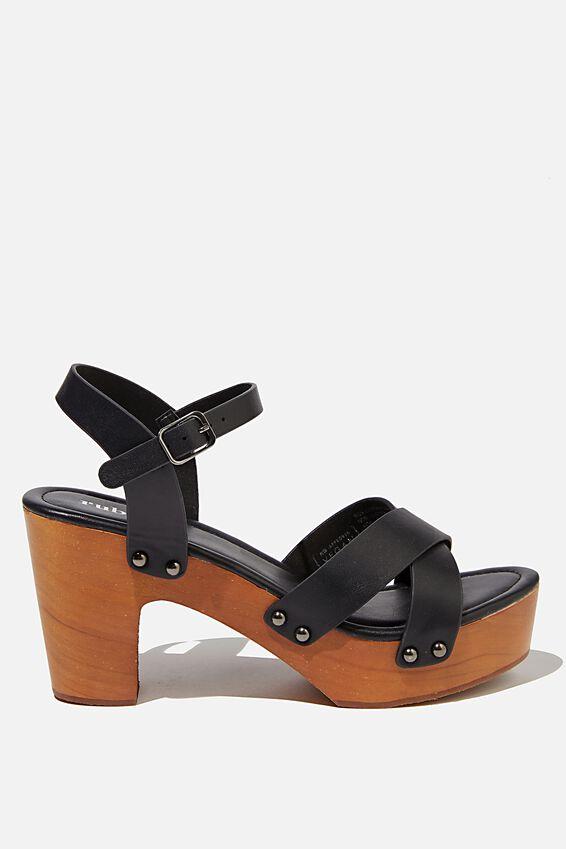 Mandy Block Heel, BLACK SMOOTH PU