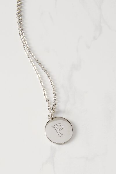Letter Flat Pendant Necklace, SILVER - P