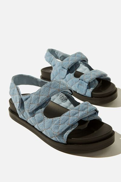 Taylor Velcro Sporty Sandal, CHAMBRAY DENIM QUILTED