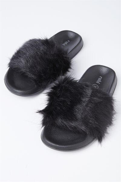 Wild Slide, BLACK LONG FAUX FUR