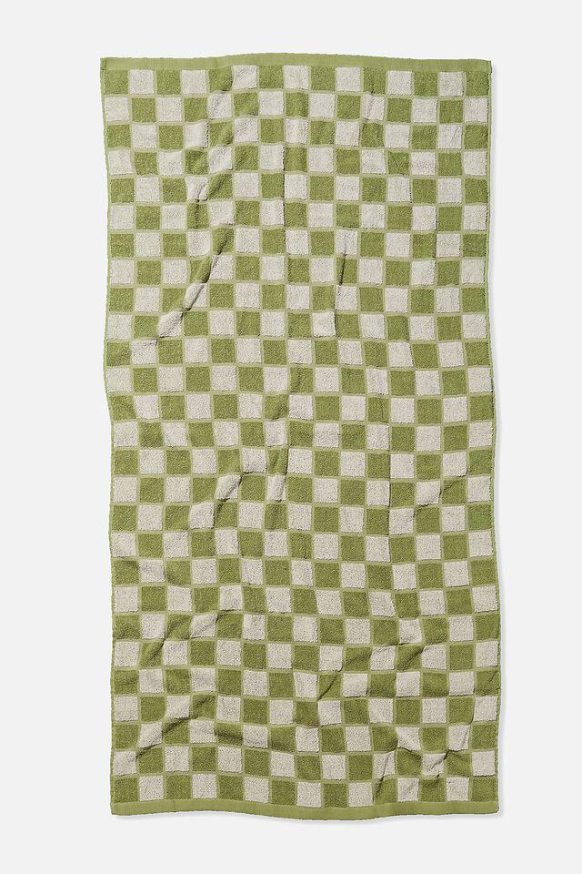 Bondi Rectangle Towel, DUSTY MINT CHECKERBOARD