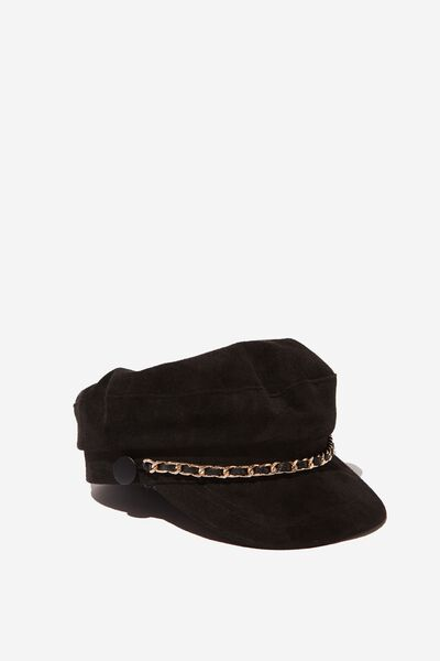 Billie Baker Boy, BLACK FAUX SUEDE/CHAIN