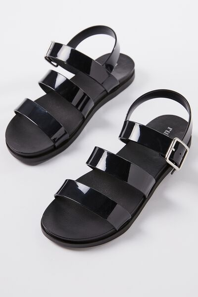 Luca Triple Strap Jelly Sandal, BLACK
