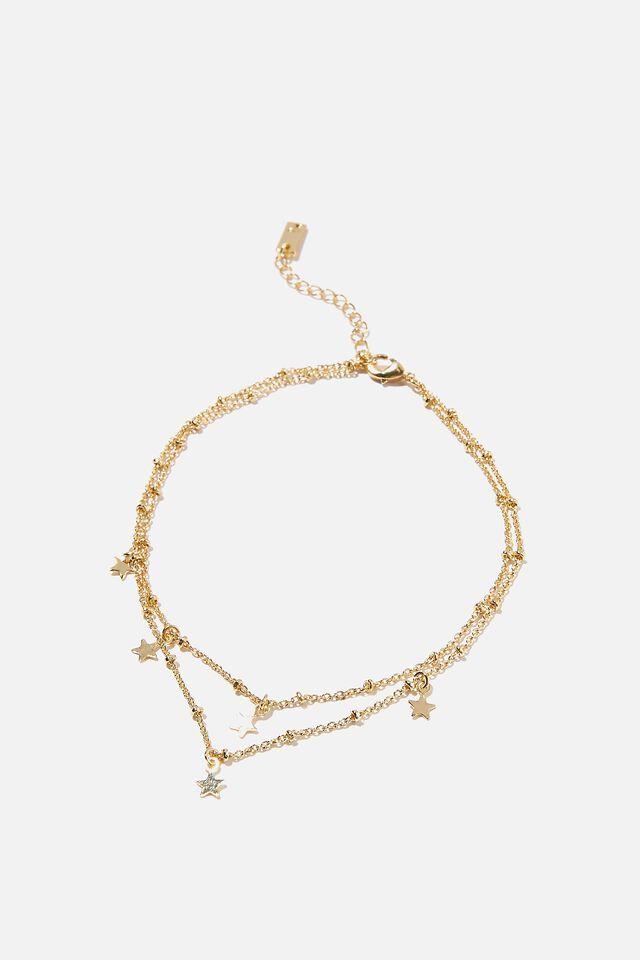 Premium Anklet, GOLD PLATED STARS