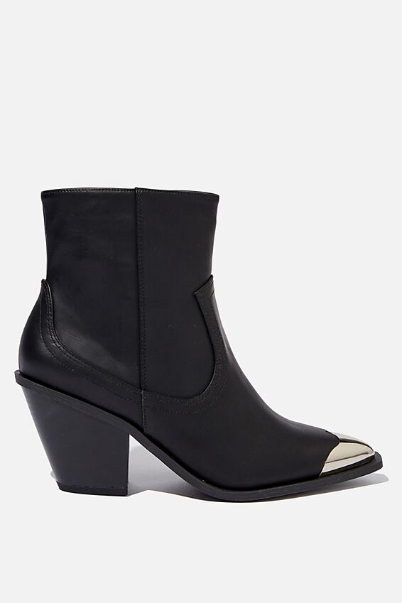 Clarence Western Boot, BLACK SMOOTH