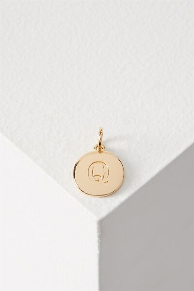 Letter Flat Pendant Charm, GOLD - Q