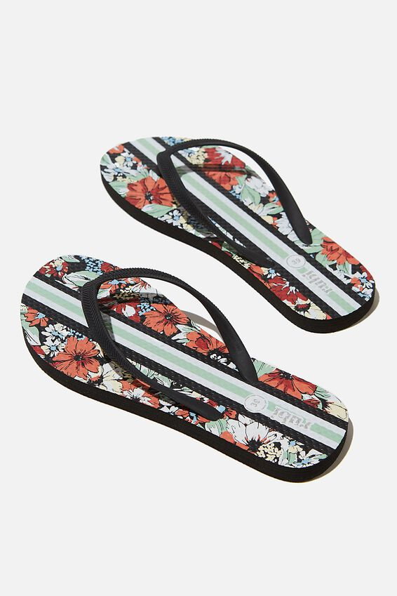 The Rubi Flip Flop, FLORAL STRIPE RED