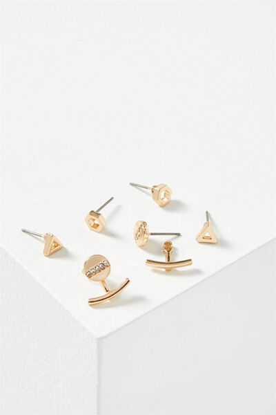 Cassandra Triangle Core Stud Pack, GOLD