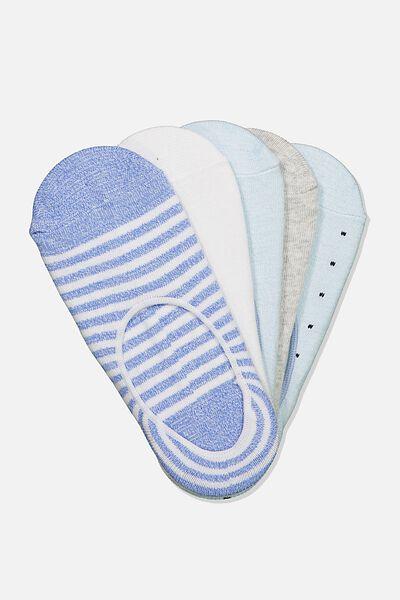 5Pk Low Cut Sock, CORNFLOWER BLUE
