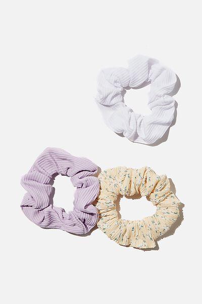 3Pk Scrunchies, LILAC LEMON DITSY RIB