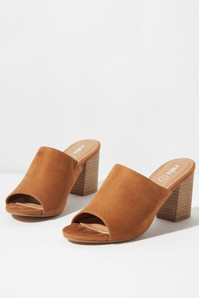 Colette Heeled Mule, DARK TAN