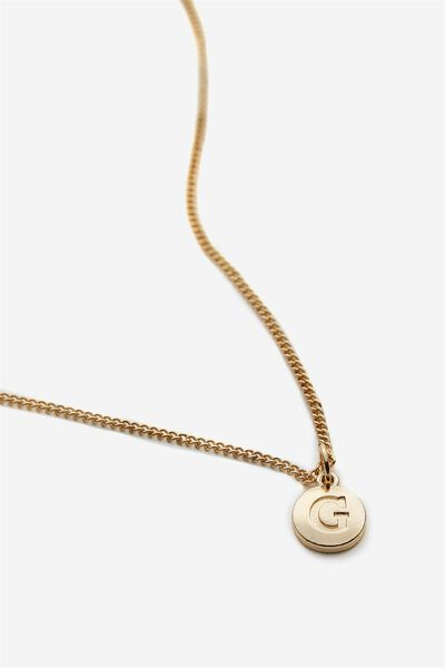 Letter Charm Necklace, GOLD G