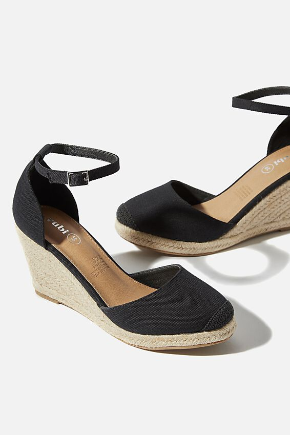 Florence Closed Toe Wedge, BLACK CANVAS