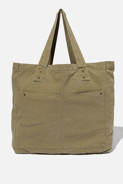 Max Washed Weekend Tote Bag, KHAKI DENIM