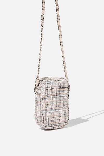 Hailey Mini Quilted Cross Body Bag, PINK/ECRU TWEED