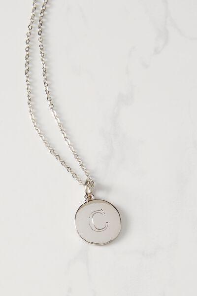 Letter Flat Pendant Necklace, SILVER - C