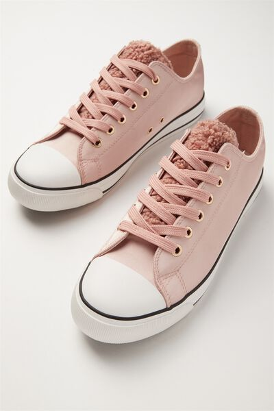Jodi Low Rise Sneaker 1, BLUSH FAUX FUR