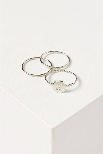 Letter Pendant Ring, SILVER - H
