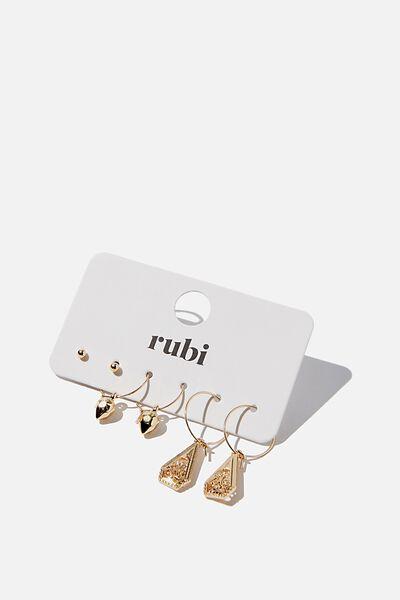 Freedom Trinket 3Pk Earrings, GOLD