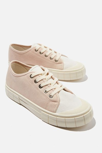 Peggy Lace Up Plimsoll, BABY PINK ECRU MULTI
