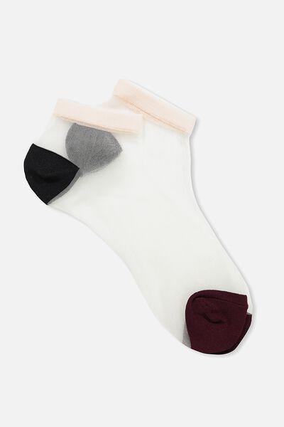 Lexi Sheer Ankle Sock, RASPBERRY COLOUR BLOCK