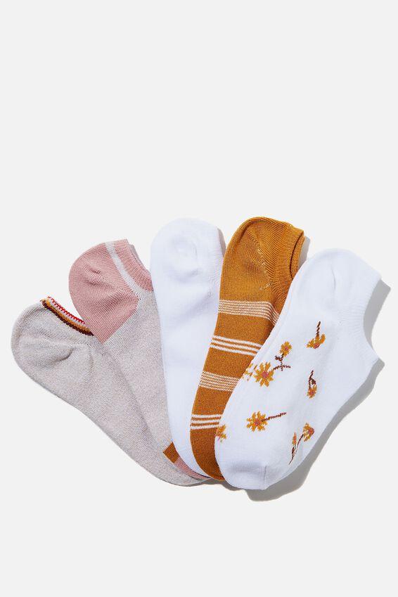 5Pk Sports Low Cut Sock, SWEET DAISY COMBO