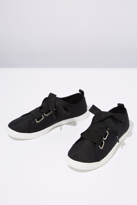 Penelope Lace Up Plimsoll, BLACK WOVEN TEXTILE