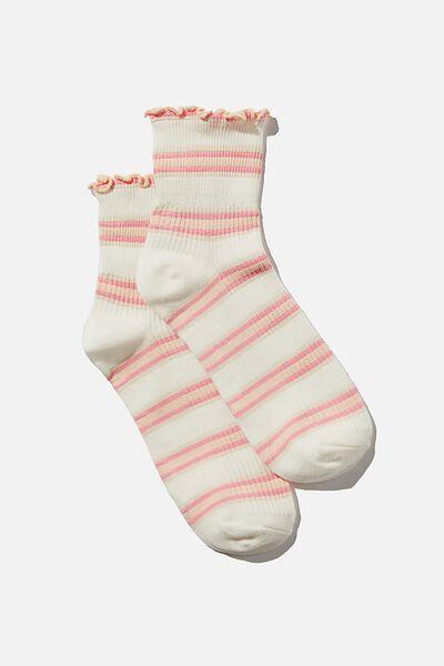 Frill Ribbed Quarter Crew Sock, PINK RETRO STRIPE