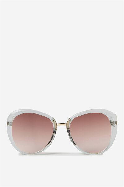 Karina Sunglass, GREY CRYSTAL/BROWN GRAD