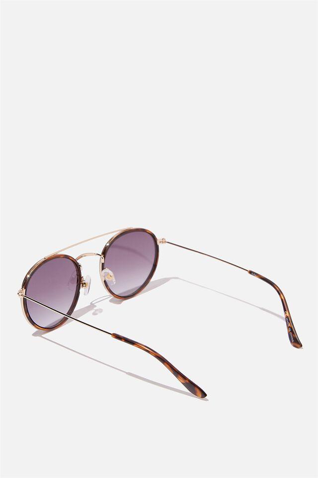 Demi Top Bar Metal Sunglasses, TORT
