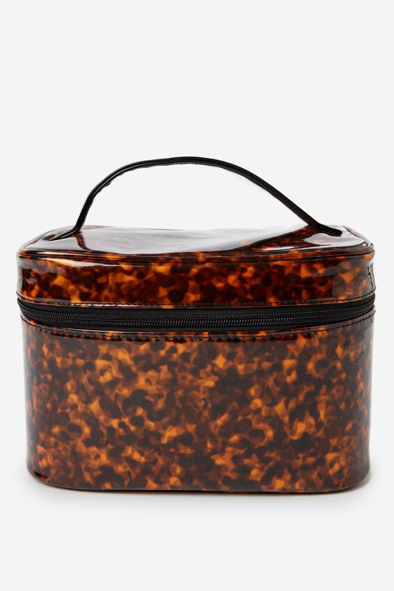 Large Structured Cosmetic Case, BROWN MULTI
