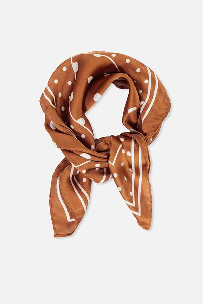 Soho Satin Scarf, RUST POLKA DOT