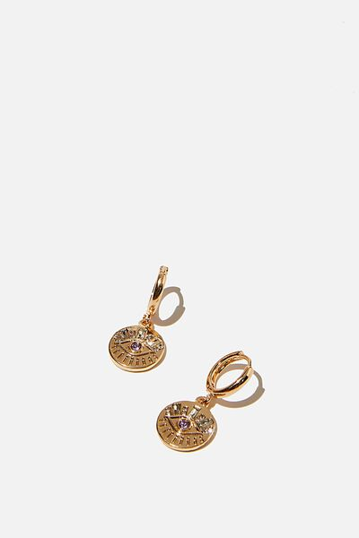 Ear Party Luxe Huggie Hoops, EVIL EYE GOLD LILAC