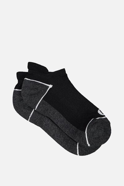 High Impact Ankle Sock, GREY/BLACK