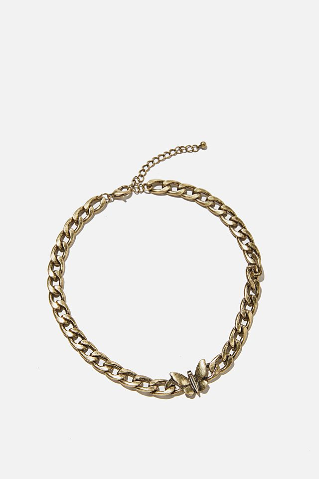 Keepsake Luxe Curb Necklace, PADLOCK BURNISHED GOLD