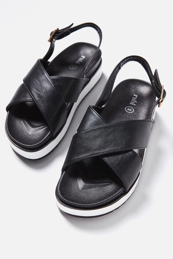 Grace Xover Flatform Sandal, BLACK PU