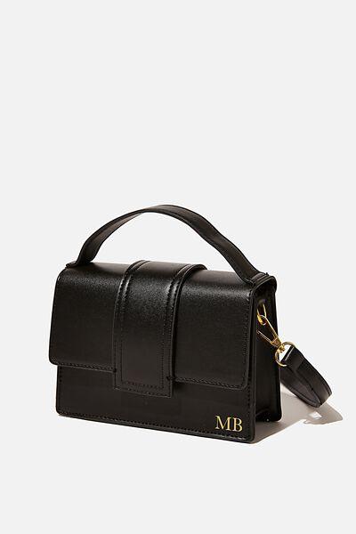 Personalised Cindy Cross Body Bag, BLACK