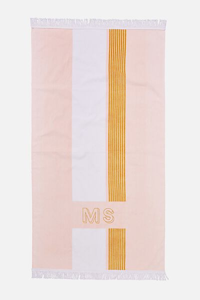 Personalised Bondi Rectangle Towel, CORAL STRIPE