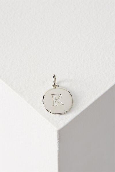 Letter Flat Pendant Charm, SILVER - R
