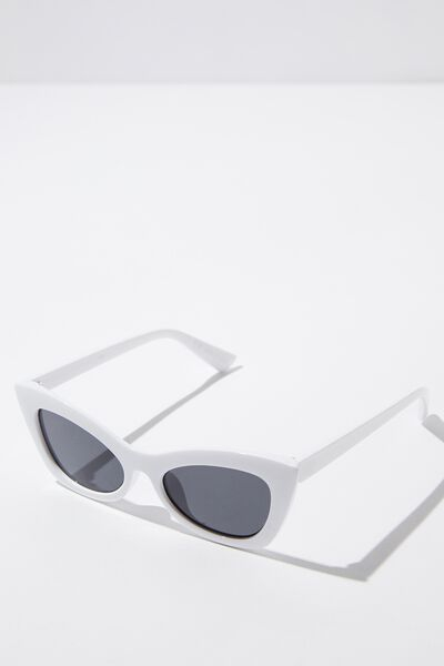 Tara Cateye Sunglass, WHITE