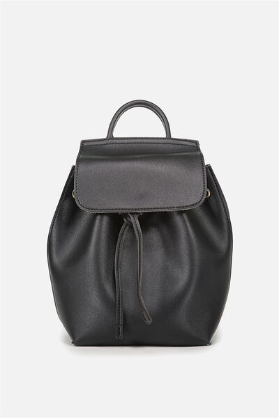 Luella Drawstring Backpack, BLACK