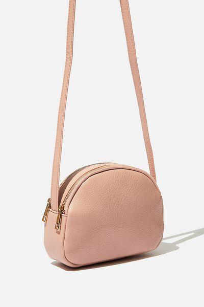 Double Zip Half Moon Bag, BLUSH